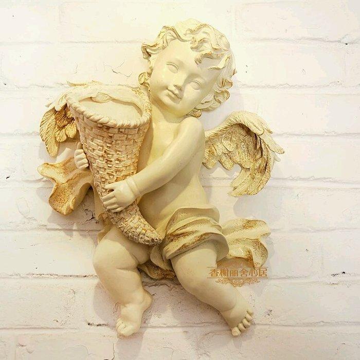 粉紅玫瑰精品屋~歐式丘比特天使花瓶壁掛 壁飾~不含花