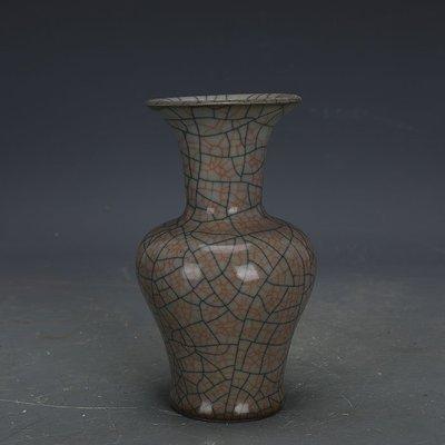 ㊣姥姥的寶藏㊣ 宋代哥窯手工瓷金絲鐵線魚尾瓶  古瓷器古玩古董收藏博古擺件