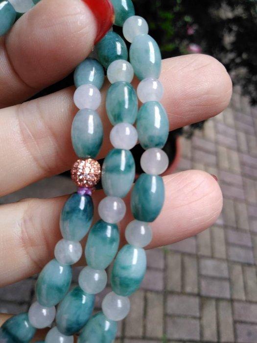 天然緬甸玉 藍水 飄花  米粒珠 項鍊 手鍊