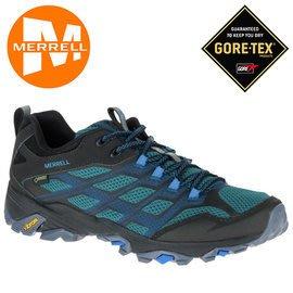 丹大戶外 美國【MERRELL】MOAB FST GORE-TEX 健行登山鞋 Vibram黃金大底 37599 藍/灰