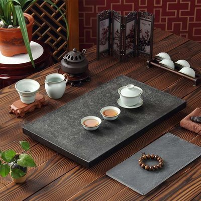 5Cgo【茗道】含稅會員有優惠 26591104196 烏金石茶盤黑金石茶台烏金石茶盤天然石茶盤高檔茶盤 60*30cm