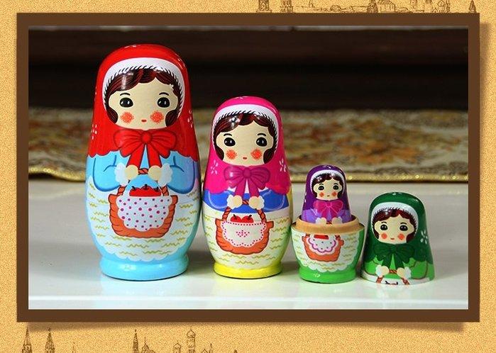 套件 俄羅斯套娃頭巾女孩五層套娃擺件小紅帽女孩娃娃椴木手工藝品手繪彩娃居家擺件生日禮物娃娃禮物