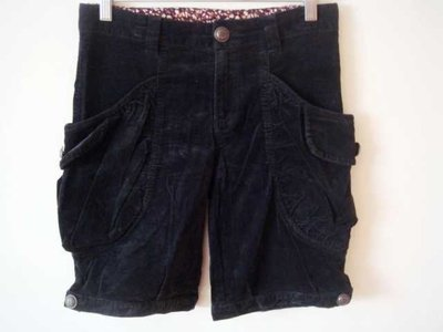 黑色側大口袋碎花絨質甜美短褲燈芯絨休閒褲秋冬五分褲149+一元起標