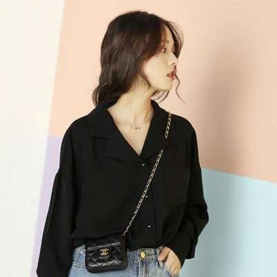 黑色襯衫女設計感小眾2019新款春季韓版寬鬆V領很仙的上衣洋氣秋