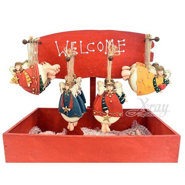 節慶王【X018012】陶製天使吊飾(4款-隨機出貨),聖誕節/掛飾/陶器/手作/吊飾/裝飾/擺飾/交換禮物/道具