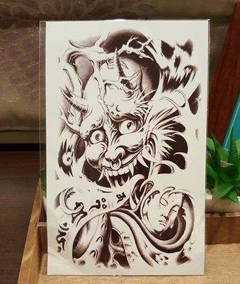 【萌古屋】日式鬼與佛大圖 - 男女防水紋身貼紙原宿刺青貼紙K33