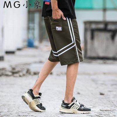 休閒短褲  歐美復古風拼色運動五分褲短褲