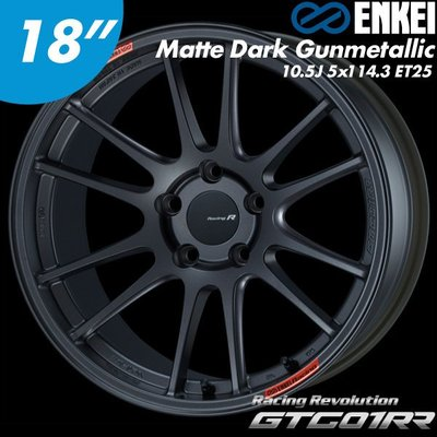 "【Power Parts】ENKEI GTC01RR 鋁圈 18"" 10.5J 5x114.3 ET25 MDG 槍黑色"