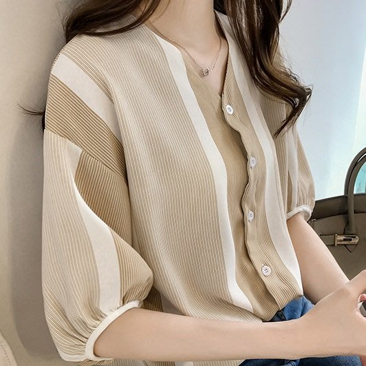 (QW-3903)直條配色雙V領排釦棉麻上衣