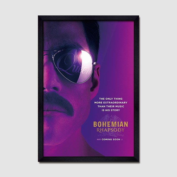 INHUASO 癮|画|所 皇后樂團搖滾音樂傳記電影海報掛畫波西米亞狂想曲酒吧臥室有框裝飾畫(8款可選)