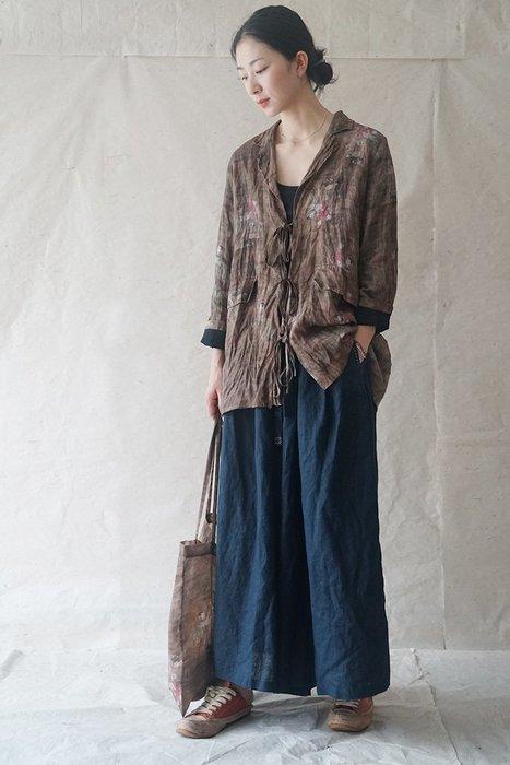 【子芸芳】原創設計復古苧麻印花文藝繫帶外套秋雙層開衫風衣