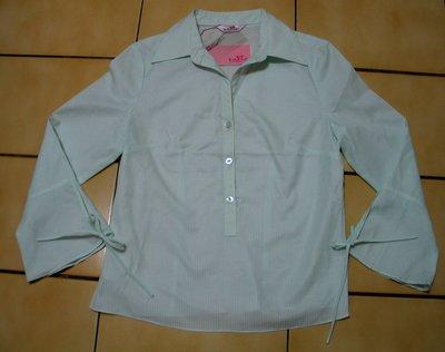 JUST TWO(集體創作)全新S號有吊牌白色+蒂芬妮綠色條紋.緞帶,7分袖襯衫599起標~