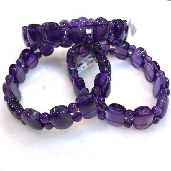 『純天然水晶量販』天然紫水晶橢圓扁形手排 搭配紫晶圓珠~早期商品亮透度超棒~特級品