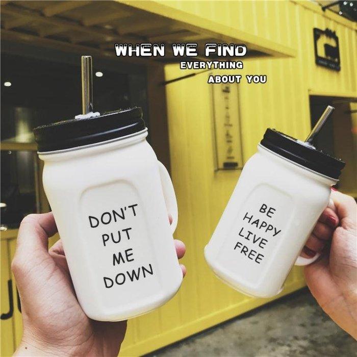 美式英文手柄梅森公雞陶瓷杯子潮流男女學生帶蓋辦公室吸管水杯子