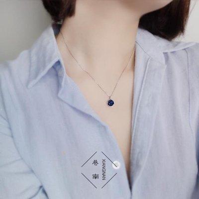 ZIHOPE 銀匠925純銀浪漫藍色水晶碎片圓形吊墜夢幻星空項鏈禮物 STZI812