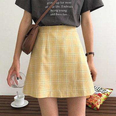 夏装女装2018新款韩版宽松高腰复古格子半身裙A字裙显瘦短裙学生