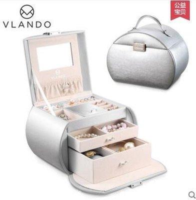 【優上】首飾盒公主歐式珠寶盒木質帶鎖手飾品收納盒項鍊戒指盒「月光銀」