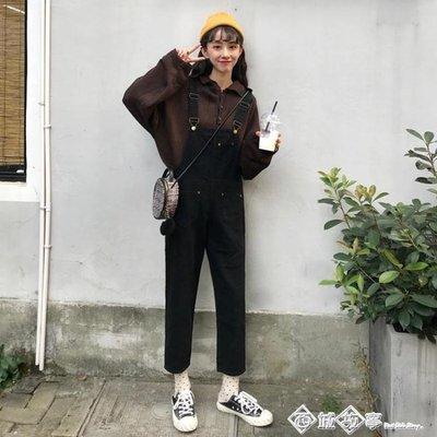 ins超火的褲子女秋2018新款韓版小清新勾勾吊帶褲寬鬆黑色牛仔褲