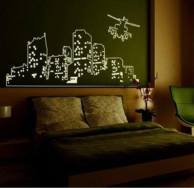 夜光 壁貼 ABQ 9607 高樓大廈 第三代 不傷牆面 重複撕貼 完成尺寸約125x50CM~神來也