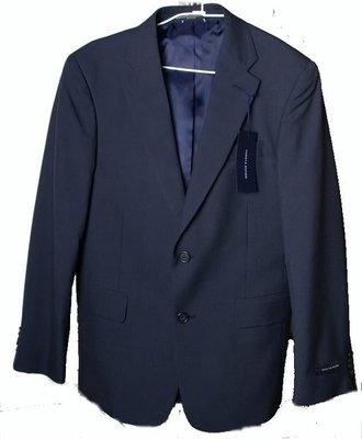 Tommy Hilfiger 西裝外套 深藍色 美式設計 細直紋 S M 38 48 【以靡正品 imy88.com】