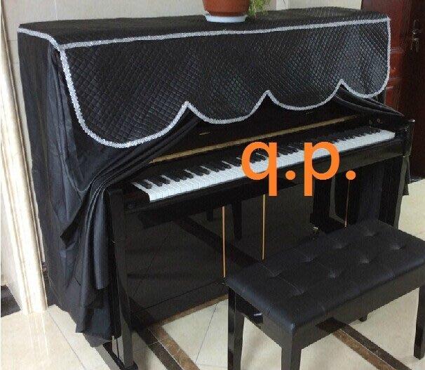 訂製 鋼琴罩+椅子凳子套 菱格子紋+PU皮革布套 酷帥 鋼琴琴罩 歐美流行時尚炫鋼琴衣 黑色 實用 防塵布 拼布 個性化