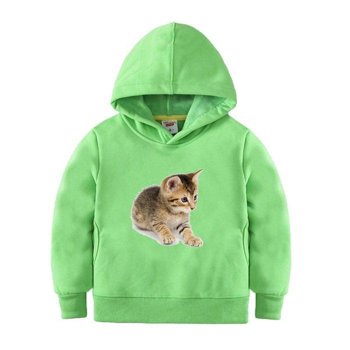 【童裝】韓版寶寶卡通動物貓咪童裝男童綠色秋冬加絨百搭衛衣女童連帽上衣外套純棉
