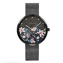 OBAKU丹麥時尚名牌STRAND系列/花之舞米蘭鋼帶手錶/珍珠母貝面盤/時尚黑/特價