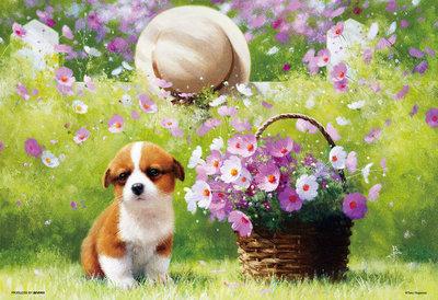 日本進口拼圖 繪畫 動物 花園裡狗 dog 犬 花 長岡卓 300片拼圖 83-103