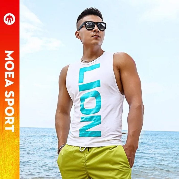 【OTOKO Men's Boutique】MOEA墨立方:基本款運動透氣背心/白翡翠綠色(台灣獨家代理)