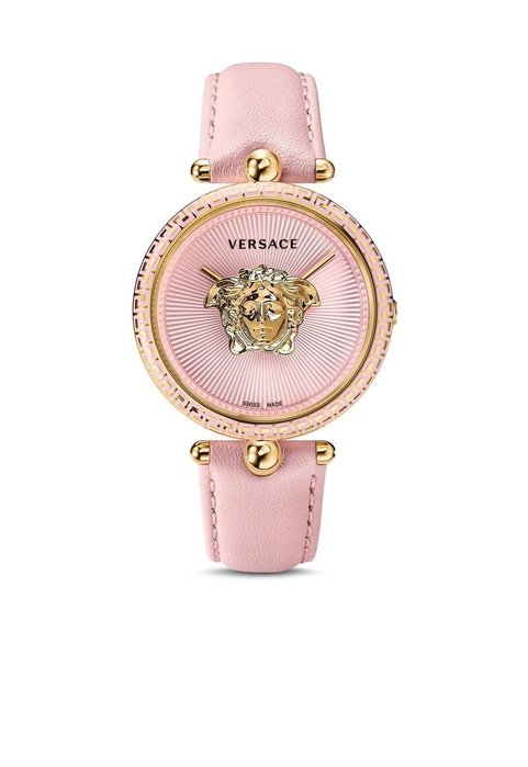 Coco小舖 Versace Palazzo Empire Leather Strap Watch 凡賽斯粉紅皮錶帶手錶