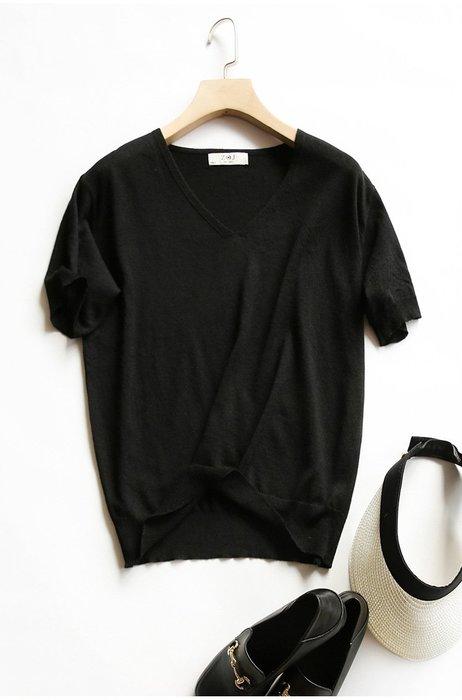 V領薄款短袖針織衫 1103