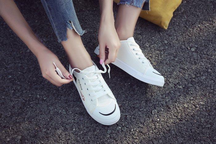 FINDSENSE品牌 四季款 新款 日本 女 高品質 簡約 可愛清新 百搭 舒適  繫帶 帆布鞋 休閒鞋  潮流鞋子