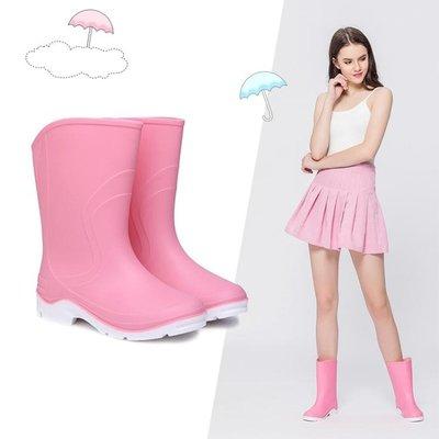 時尚女士雨鞋簡約中筒雨靴防滑水鞋