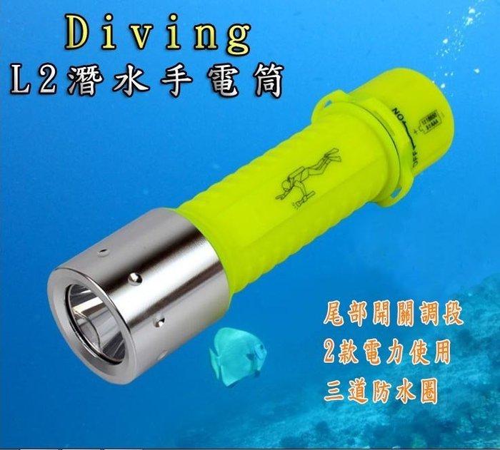 世界最亮 雙電力版(台製保護版電池全配組) CREE XML-L2 潛水手電筒聚魚燈/浮潛/隧道/冰庫潮濕/雨天極地環境