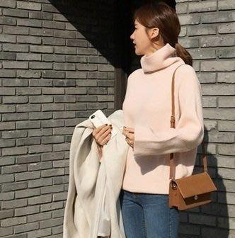 Forever Kids 韓國連線 正韓 40%羊毛柔和高領 嫩色毛衣 【A22304】