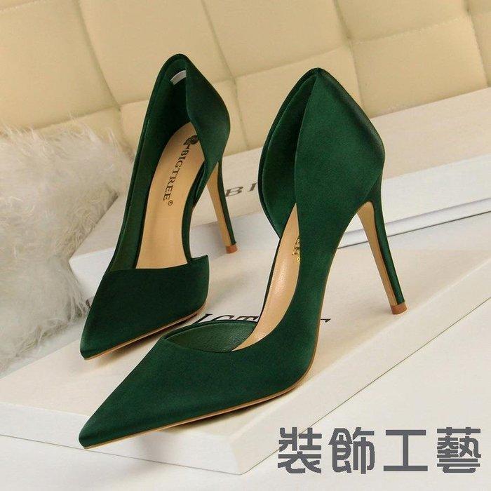830-3細高跟綢緞淺口尖頭側鏤空性感夜店顯瘦單鞋女高跟鞋