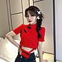 小香風 短袖T恤 時尚穿搭 心機T恤女設計感修身中國風改良旗袍盤扣短款高腰露臍短袖上衣潮