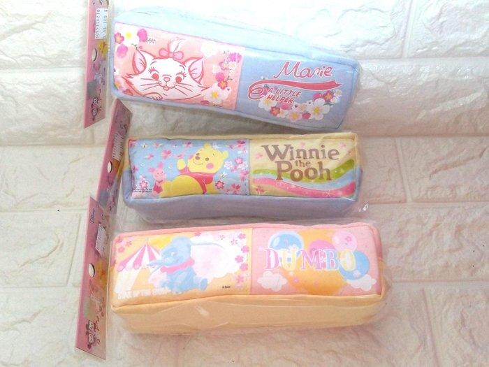 迪士尼櫻花系中方型單層棉布筆袋 瑪莉貓小熊維尼 小飛象