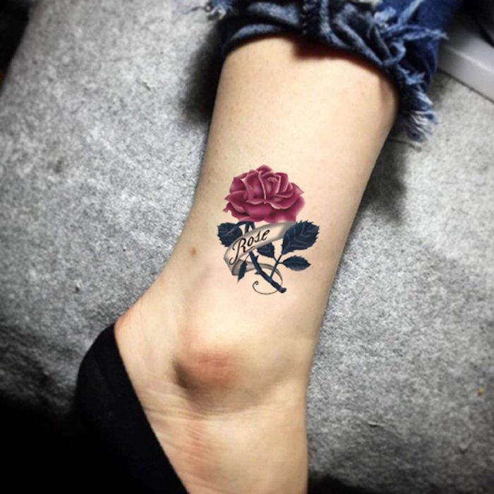 【萌古屋】Rose玫瑰單圖 - 男女防水韓風簡約紋身貼紙刺青貼紙K13