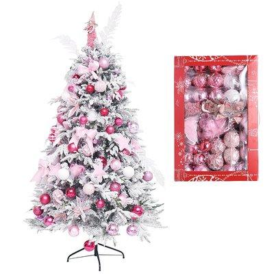 粉色聖誕樹粉紅植絨樹配件套餐材料包大型家用聖誕樹裝飾創意掛飾