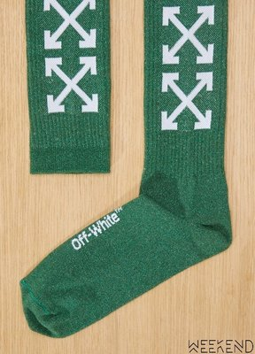 【WEEKEND】 OFF WHITE x 24 Logo 長襪 襪子 綠色