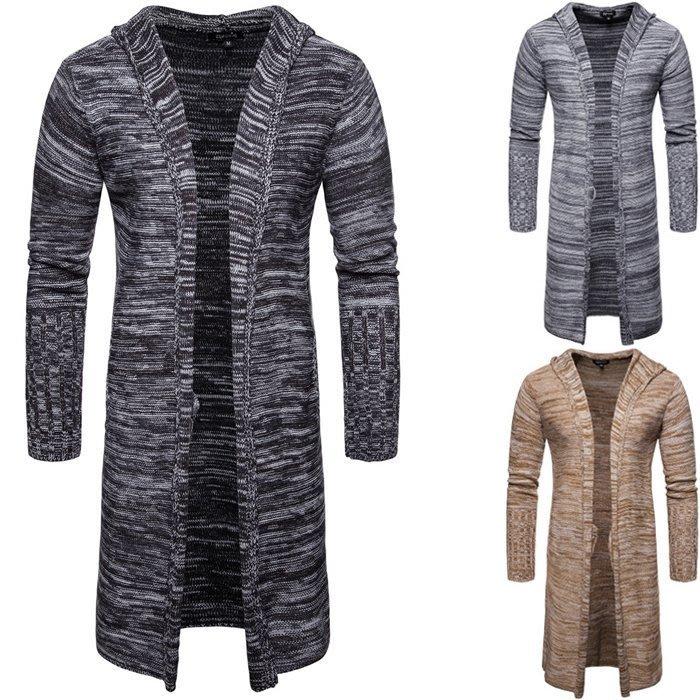 『潮范』 WS12 外貿男士中長款針織外套 開衫 外穿棉質連帽外套 長款條紋毛衣NRG3002