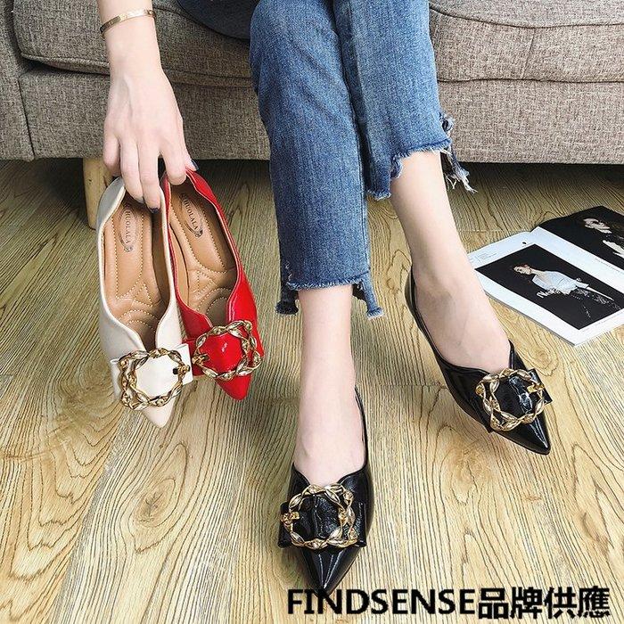 FINDSENSE品牌 四季款 新款 日本 女 高品質 個性  氣質 單鞋 小皮鞋 舒適  時尚 休閒鞋  潮流鞋子
