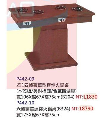 【進日興家具】P442-10 多爐型豪華迷你火鍋餐桌(木芯板/美耐板面/含瓦斯爐) 餐桌 台南。高雄。屏東 傢俱宅配