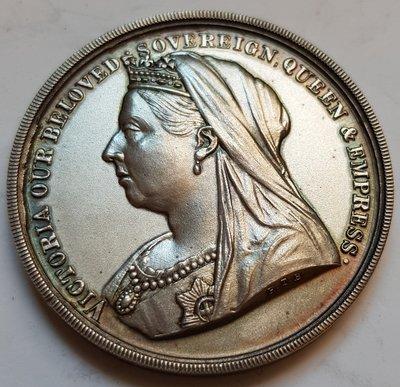英國白鐵章 1897 UK Victoria Diamond Jubilee Warrington Medal.