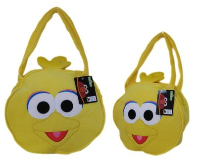 【卡漫迷】芝麻街 絨毛 手提袋 ㊣版  大鳥姐姐  肩背 側背 拉鏈 黃色