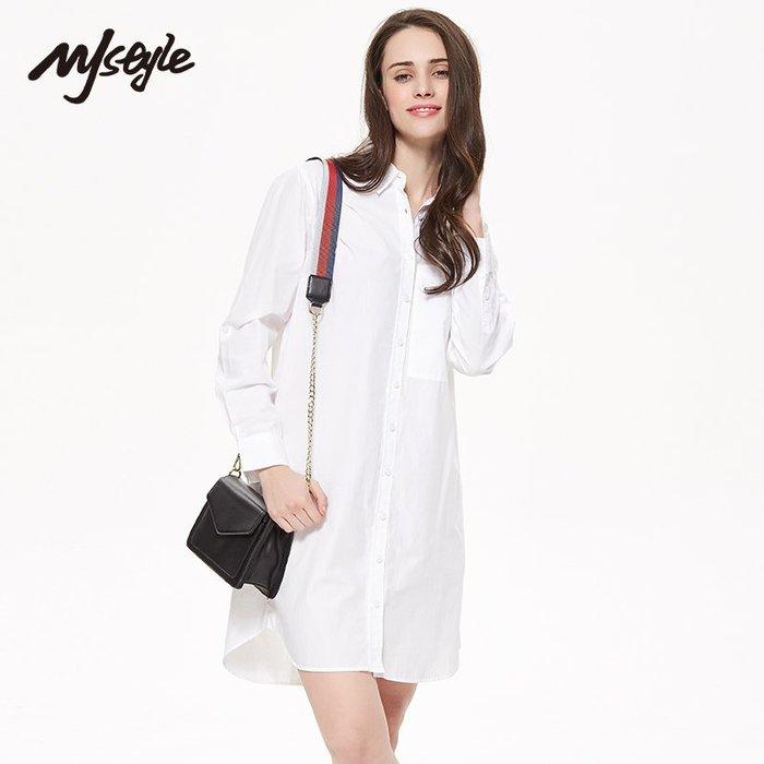 長版襯衫正韓版MJstyle TOPFEELING女裝女中長款純色休閑長袖襯衫-5171200499-30