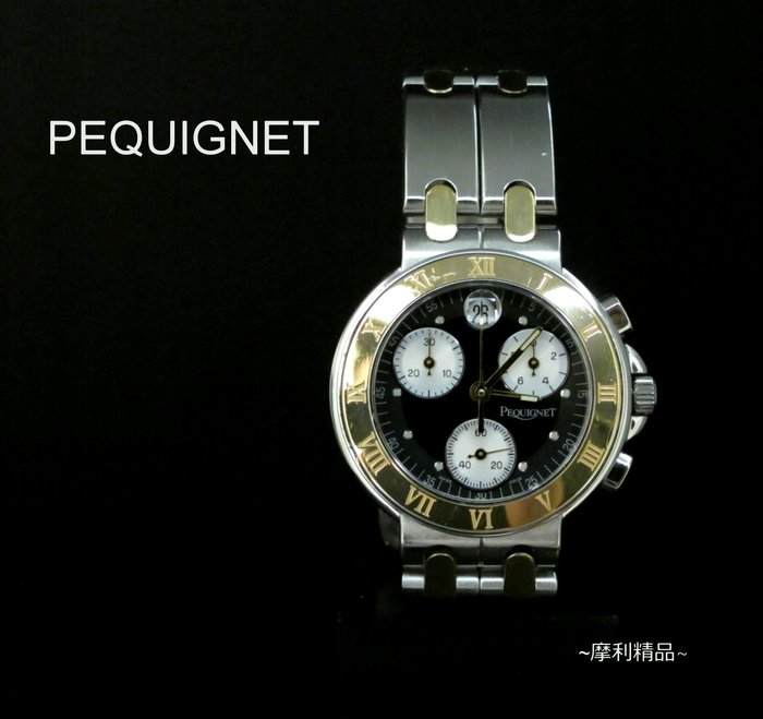 【摩利精品】pequignet 碧琦石英計時錶 *真品* 低價特賣