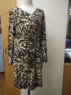 全新 設計師專櫃品牌 I.PENNA  豹紋亮片 顯瘦 長袖洋裝  秋冬  2號 160/80A   一1