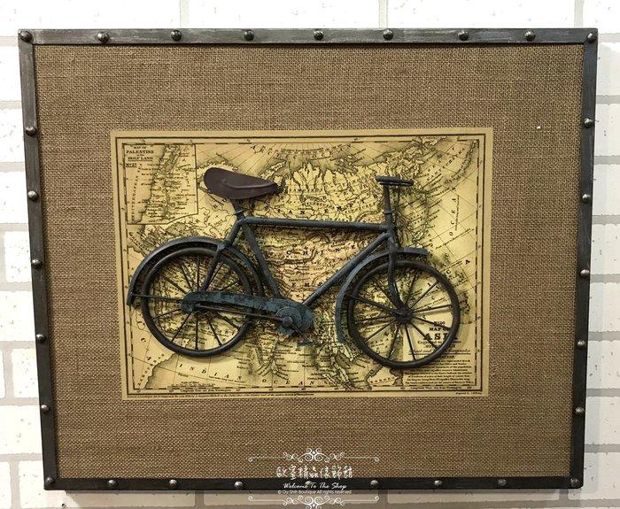 ~*歐室精品傢飾館*~美式鄉村 復古 loft 工業 麻布 掛畫 掛圖 腳踏車 三輪車 壁飾 布置 A款~新款上市~